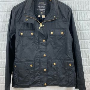 J Crew Black Coated Military Utility Jacket Large